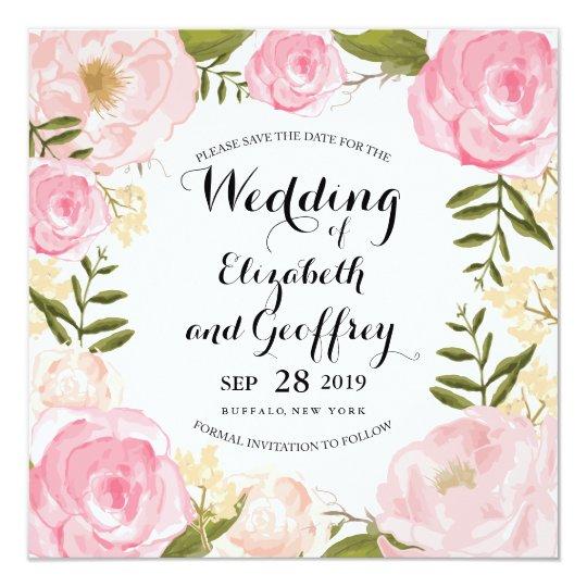 Modern Vintage Pink Floral Save the Date Card