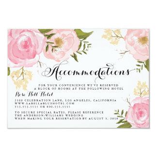 Modern Vintage Pink Floral Wedding Accommodation 9 Cm X 13 Cm Invitation Card