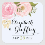 Modern Vintage Pink Floral Wedding Custom Favour Square Stickers