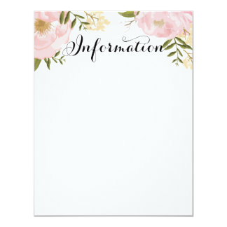 Modern Vintage Pink Floral Wedding Information 4.25x5.5 Paper Invitation Card