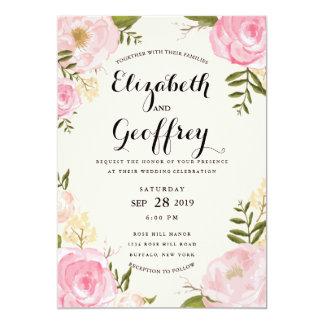 "Modern Vintage Pink Floral Wedding Invitation 5"" X 7"" Invitation Card"