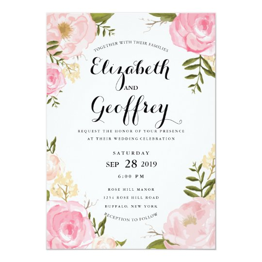 Modern Vintage Pink Floral Wedding Invitation