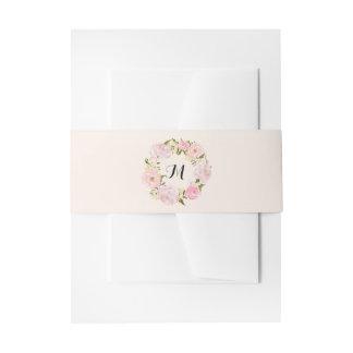 Modern Vintage Pink Floral Wedding Invitation Belly Band
