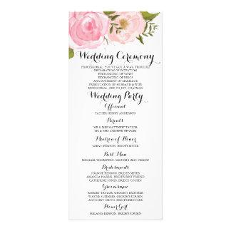 Modern Vintage Pink Floral Wedding Program Card Customised Rack Card