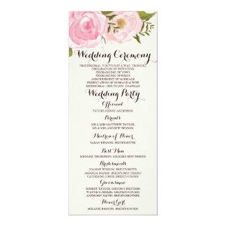 "Modern Vintage Pink Floral Wedding Program Card 4"" X 9.25"" Invitation Card"