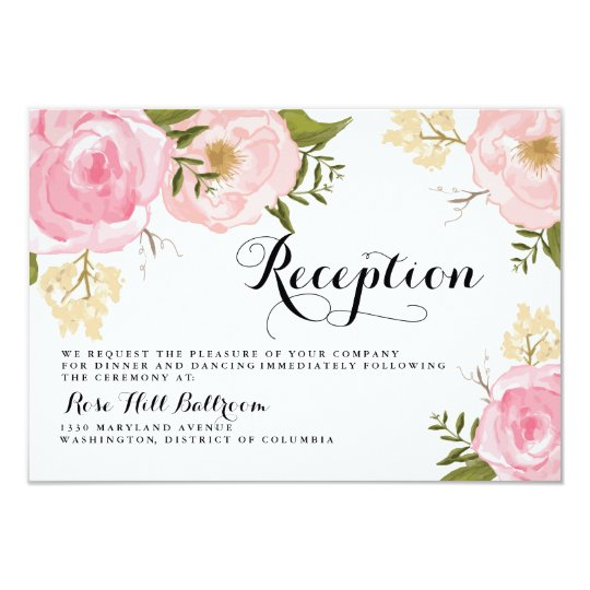 Modern Vintage Pink Floral Wedding Reception Card