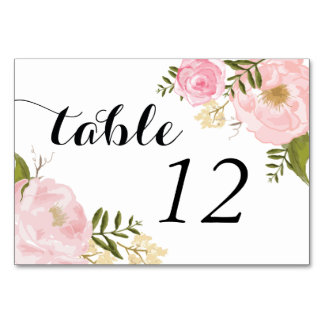 Modern Vintage Pink Floral Wedding Table Card