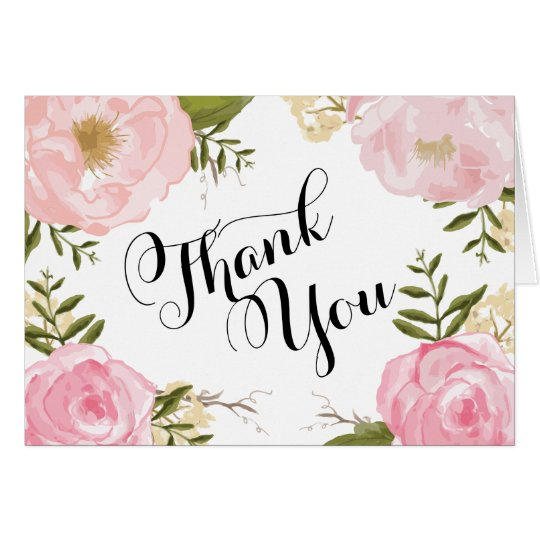 Modern Vintage Pink Floral Wedding Thank You Card