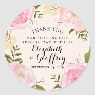 Modern Vintage Pink Floral Wedding Thank You Favor Classic Round Sticker