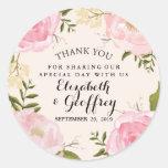 Modern Vintage Pink Floral Wedding Thank You Round Sticker