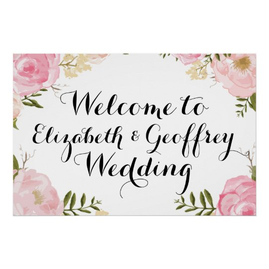 Modern Vintage Pink Floral Wedding Welcome Banner Poster