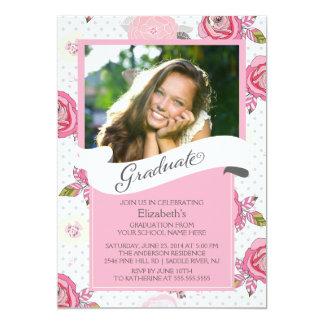 Modern Vintage Pink Flowers Graduation Invitation