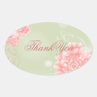 modern vintage pink Peonies floral thankyou Stickers