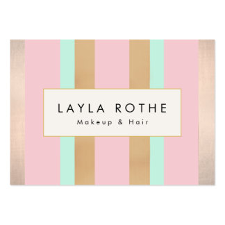 Modern Vintage Pink, Rose Gold Stripes Salon Pack Of Chubby Business Cards