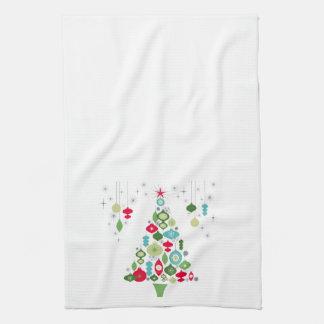 modern vintage retro christmas tree tea towel