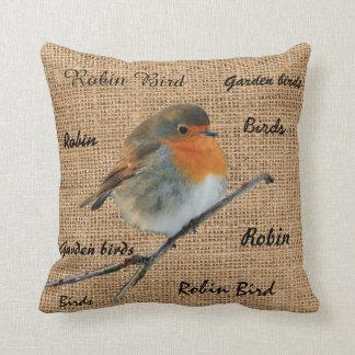 Modern Vintage Robin Bird burlap script Cushion