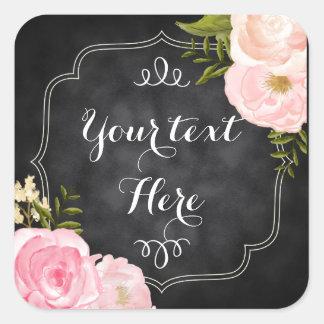 Modern Vintage Roses Chalkboard Custom Favor Sticker