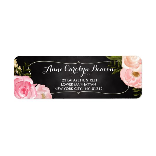 Modern Vintage Roses Chalkboard Custom Return Address Label
