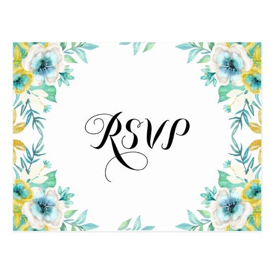 Modern Vintage RSVP Floral Wedding Postcard