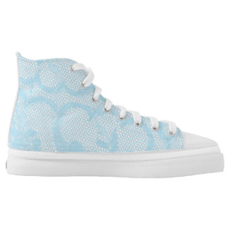 Modern Vintage Rustic Blue Lace Pink High Tops