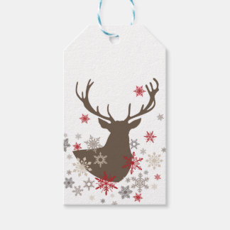 modern vintage rustic deer and snowflakes gift tags