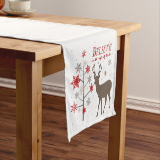 modern vintage rustic deer and snowflakes short table runner