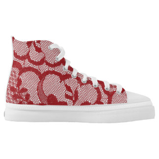 Modern Vintage Rustic Red Lace High Tops