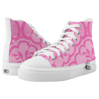 Modern Vintage Rustic Red Lace Pink High Tops