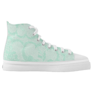 Modern Vintage Rustic White Lace Mint High Tops
