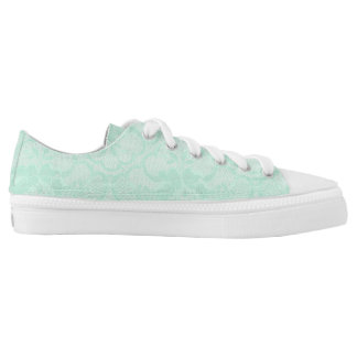 Modern Vintage Rustic White Lace Mint Pastel Low Tops