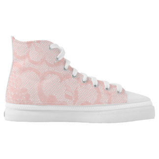Modern Vintage Rustic White Lace Pink High Tops