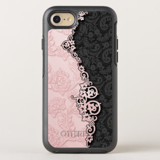 Modern Vintage Sculpted Pink and Black Damask OtterBox Symmetry iPhone 7 Case