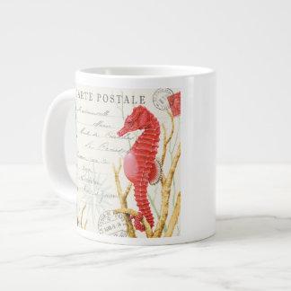 modern vintage seahorse large coffee mug