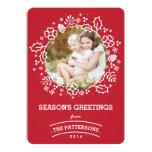 Modern Vintage Season's Greetings Photo Card   Red Invitation