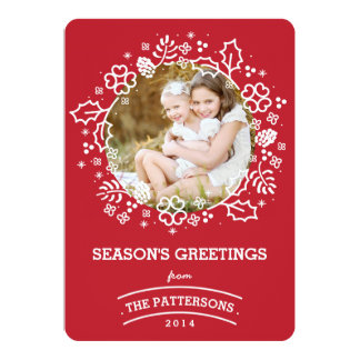 "Modern Vintage Season's Greetings Photo Card | Red 5"" X 7"" Invitation Card"