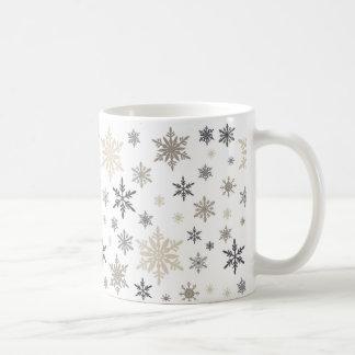 modern vintage snowflakes coffee mug