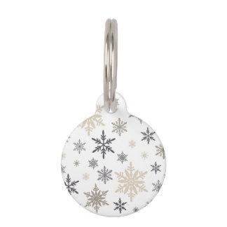 modern vintage snowflakes pet tag