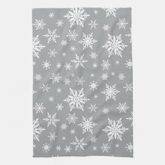 modern vintage snowflakes tea towel