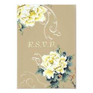 modern  vintage spring Peony floral wedding RSVP Custom Invitation