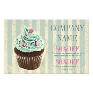 modern vintage teal  bakery dessert cupcake custom flyer