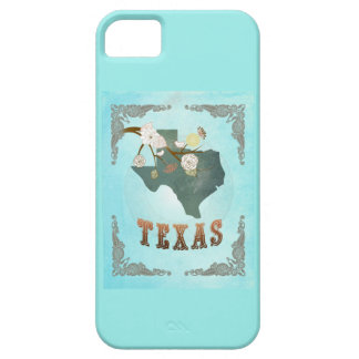 Modern Vintage Texas State Map – Aqua Blue iPhone 5 Case