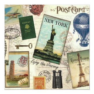 modern vintage travel collage 13 cm x 13 cm square invitation card