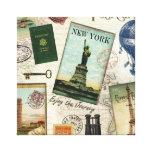 modern vintage travel collage stretched canvas prints