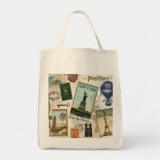 modern vintage travel collage canvas bags