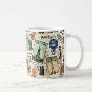 modern vintage travel collage coffee mug