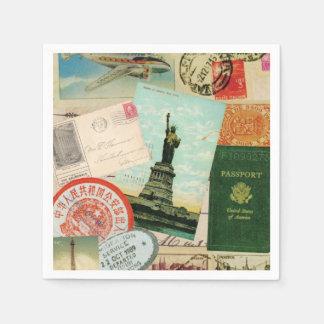 modern vintage travel collage disposable napkin