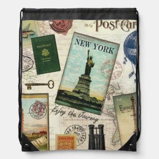 modern vintage travel collage drawstring bags