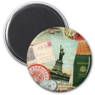 modern vintage travel collage fridge magnet
