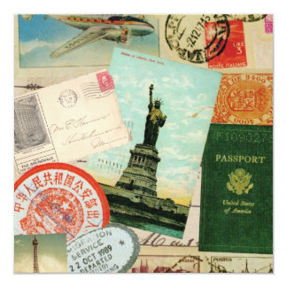 modern vintage travel collage 5.25x5.25 square paper invitation card