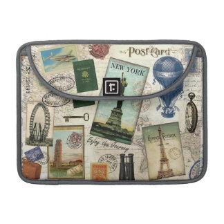 modern vintage travel collage sleeve for MacBook pro